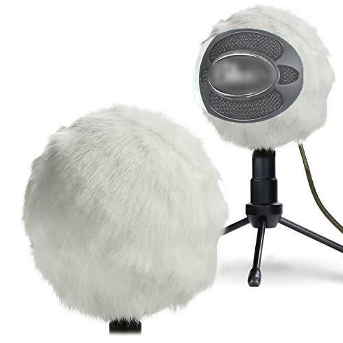 YOUSHARES Blue Snowball Pelliccia Personalizzato pop filtro microfono parabrezza schiuma di copertura per Blue Microphones Snowball iCE Microfono Condensatore (Bianco)