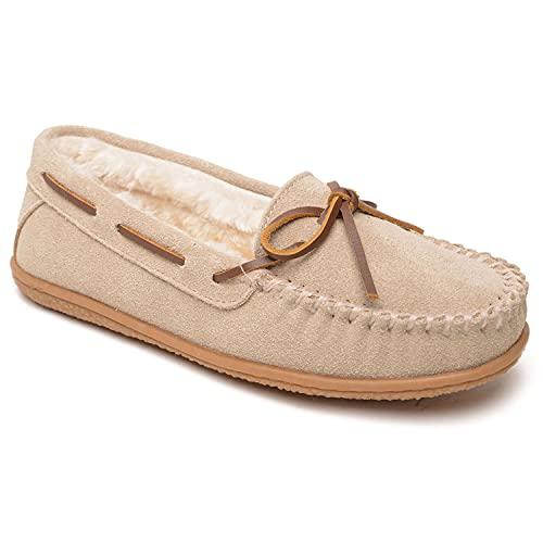 Minnetonka Camp Tie Moc - Moccasin Outdoor/Indoor Slippers for Women Stone, 10 M