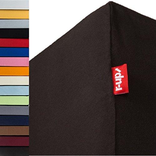 r-up Passt Spannbettlaken 180x200-200x220 bis 35cm Höhe viele Farben 100% Baumwolle 130g/m² Oeko-Tex stressfrei auch für Boxspringbetten (anthrazit)