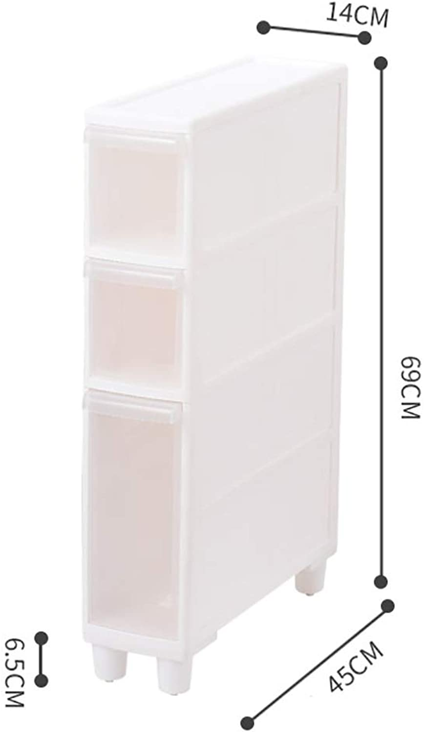 14CM Sandwich Storage Cabinet Refrigerator Rack Narrow Slit Kitchen Plastic Drawer Wheeled Locker Bathroom Shelf (color   C)