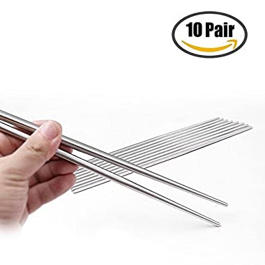 Sweton 10 Pairs Chopsticks 304 Stainless Steel Anti-skid Anti-hot design vacuum chopsticks