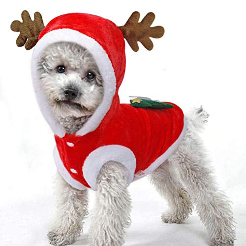 CHRONSTYLE Fashion Pet Christmas Outfits Warm Furry Puppy Clothes Xmas Costume for Dogs Cats (rot, L)