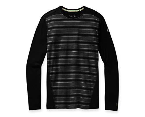 Smartwool Men's 150 Baselayer Long Sleeve Slim Fit Shirt Black Stripe, Extra Extra Large (XXL)