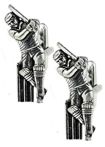 Cufflinks Direct Gemelos de Plata Inglesa auténtica para Hombre, diseño de críquet de Peltre