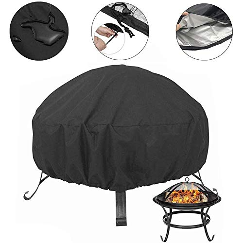 Tongyundacheng Multi-purpose Fire Pit Covers Black Round Fire Pit Cover Waterproof Dust-proof Outdoor Garden Patio Protective Cover with Drawstring for Stove (XL: 102x46cm)