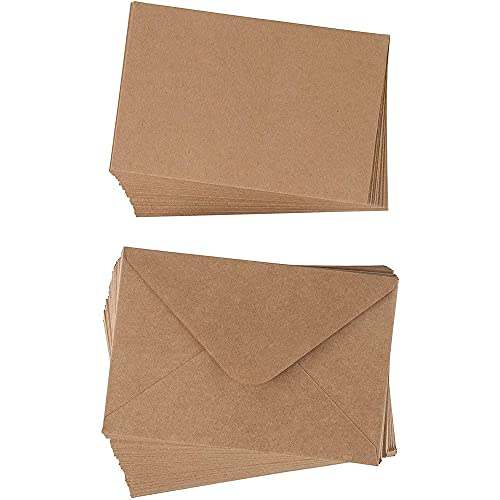48 Pack Blank Flat Notecard with Envelopes for DIY Greeting Cards, Wedding Invitation, Kraft Brown