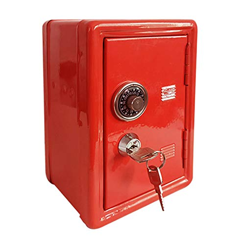 Caja Fuerte de Metal Caja de Ahorro de Dinero Caja de Ahorro Para Niños Tanque de Almacenamiento Para Niños Mini Caja Fuerte de Metal 2 Llaves (Red)