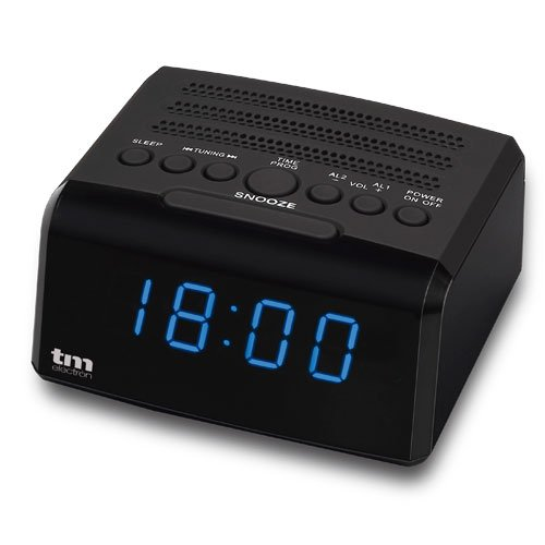 TM Electron TMRAR010 - Radio Reloj Despertador Digital PLL, Color Negro