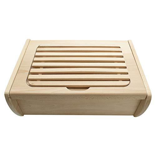 Brotkasten/Brotbox mit integriertem Schneidebrett - Messerhalterung aus Buchenholz - echte Handarbeit