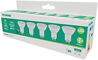 Sylvania - Juego de 5 bombillas LED GU10 (610 lm, 830 = 3000 K, intensidad no regulable), color blanco