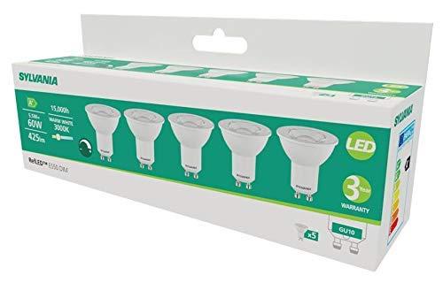 Sylvania Pack múltiple: 5 bombillas LED GU10 610 lm 830 = 3000 K, intensidad no regulable, color blanco
