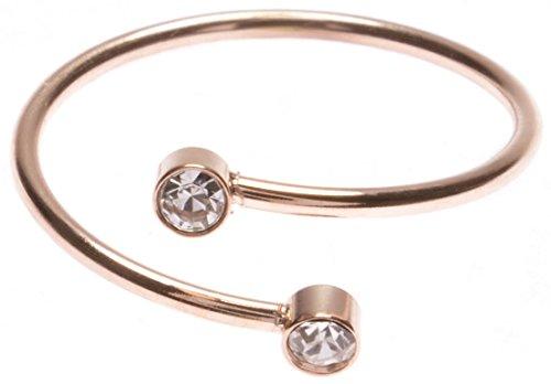 Happiness Boutique Damen Spiralring mit Strasssteinen Rosévergoldet | Spiralförmiger Ring Edelstahlschmuck