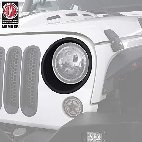 Hooke Road Matte Black Headlight Bezels Headlight Cover Trim for 2007-2015 Jeep Wrangler JK & Wrangler Unlimited