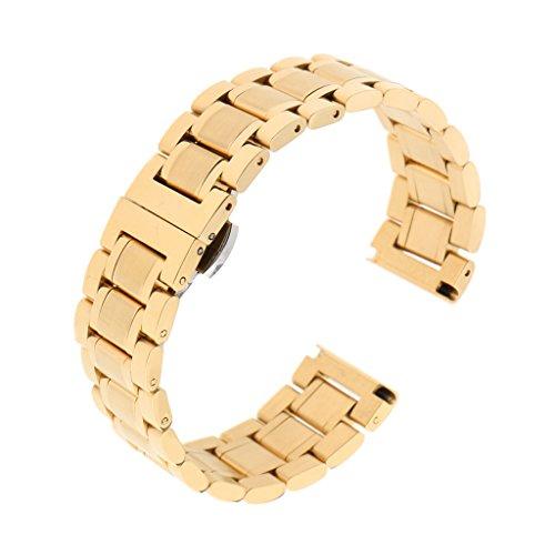chiwanji Herrenuhrenarmband Strap Pure Solid Edelstahl Handgelenk Armband Link 20 24mm - Gold 20mm