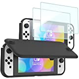 ProCase Nintendo Switch OLED Flip Cover with 2 Pack Tempered Glass Screen Protectors, Slim Protective Flip Case with Magnetically Detachable Front Cover for Nintendo Switch OLED Model 2021 -Black
