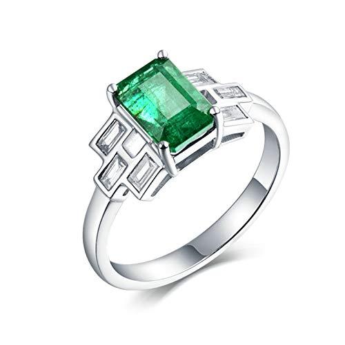 Beydodo Anillos Mujer 18K,Anillos de Oro Blanco 18K Para Mujer Plata Verde Rectángulo Esmeralda Verde 1.85ct Diamante 0.46ct