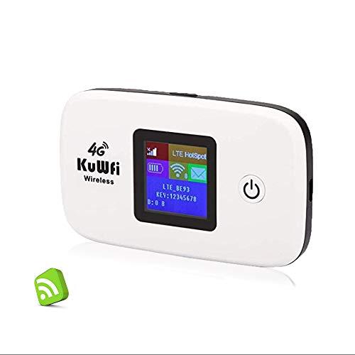 Router 4G con sim portatile, KuWFi Router 4G LTE con slot per schede SIM Lavorare con SIM Card Italia Facile da trasportare utilizzare Outdoor aggiornamento B1 / B3 / B7 / B8 / B20