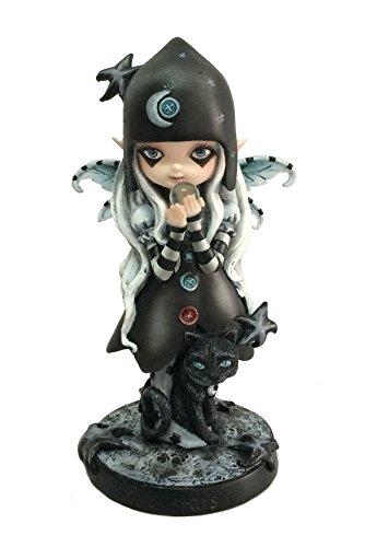 Figurine FEE Petite Fille MAGICIENNE ET Son Chat Noir (HT 17.5 X 10.3 cm), Statuette FEE, Statuette Chat