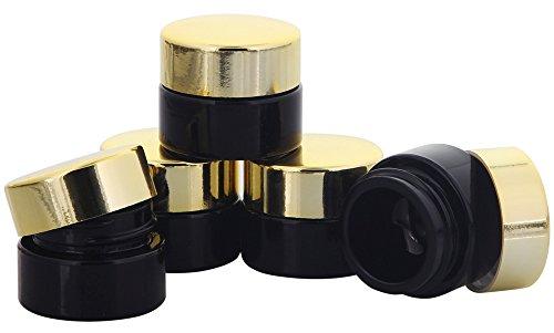 Violett Miron-Glas Tiegel m. Deckel, 5 ml Kosmetex Kosmetik-Tiegel, Miron Salbentiegel, Cremedose, 5× gold
