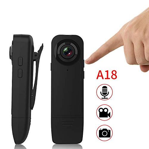 KOBERT GOODS Mini-HD-Kamera (T18) tragbare SpyCam für Foto- und Videoaufnahmen inkl. Mikrofon in Full HD Bewegungserkennungs- und Nachtsicht-Modus zum Anstecken mit Clip