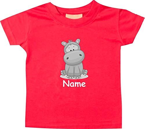 Shirtinstyle Bébé Haut, Hippopotame Animal Motifs Nom Souhaité - Rouge, 18-24 Monate