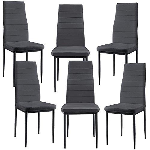 [en.casa] 6 x sillas de Comedor (Gris Oscuro) tapizadas de Cuero sintético Set de sillas de Cocina