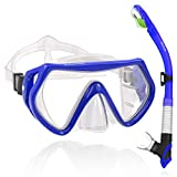 WACOOL Adults Teens Snorkeling Snorkel Diving Scuba Package Set with Anti-Fog Coated Glass Purge Valve and Anti-Splash Silicon Mouth Piece for Men Women (Blue)