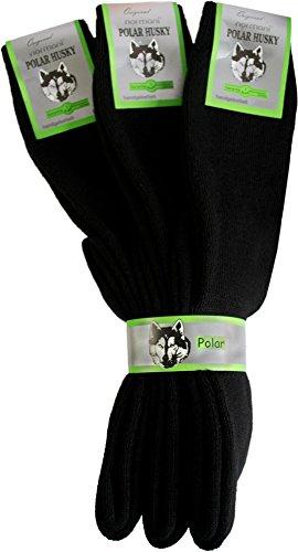 Polar Husky® 3 Paar Original Kniestrümpfe mit Schafwolle - in Schwarz Größe 43/46