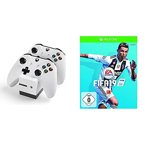 snakebyte Xbox One Twin:Charge X - weiß – Ladegerät/Ladestation für Xbox One S/Xbox One X/Xbox One Elite Controller/Gamepads, 2 Akkus Wiederaufladbar 800mAh & FIFA 19 - Standard Edition - [Xbox One]