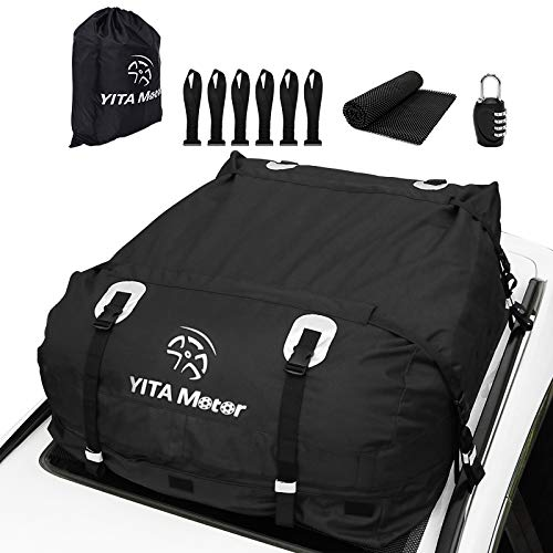 YITAMOTOR Cargo Top Carrier Roof Bag, 19 Cubic ft Car 600D PVC Rooftop Travel Storage Luggage Bag Box Soft-Shell for Cars with or Without Racks (Door Hooks/Anti-Slip Mat/Lock inclued )