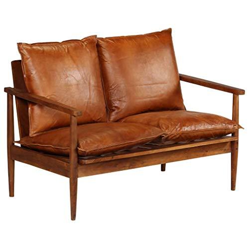 Festnight 2-Sitzer-Sofa | 2er Echtes Leder Couch | Wohnzimmer Ledersofa | Retro Loungesofa | Braun Echtes Leder mit Akazienholz 116 x 69 x 74 cm