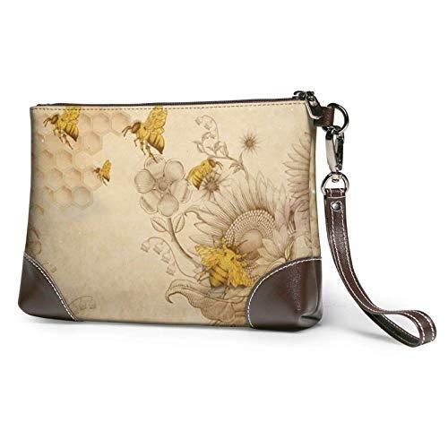 XCNGG Bolso de mano con estampado de flores silvestres de abejas de miel rural, bolso de mano de cuero desmontable, bolso de mano para mujer, bolsa de dinero