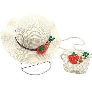 [ユリカー] ベビー帽子 麦わら帽子 キッズ 日よけ帽子 赤ちゃん 女の子 通気性よく つば広 紫外線対策 UVカット アウトドア お出かけ ビーチ ニット編み バッグ付き 可愛い ホワイトM