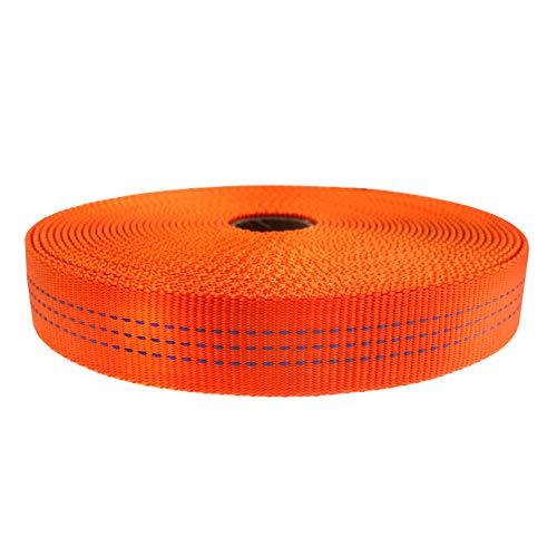 Hot Yellow, 10 Yards Country Brook Design 1 Inch Climbing Spec Tubular Nylon Webbing