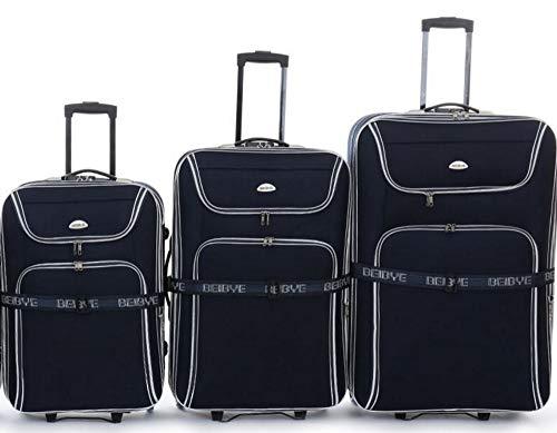 TOP-aanbieding - trolley kofferset - 3 trolleys - XXL volume - 76/66/56cm, plooi - zwart
