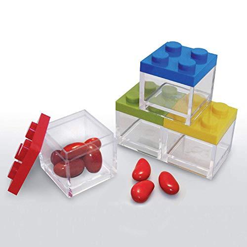 Omada Design Scatolina Portaconfetti in Plexiglass, 24 pezzi, tipo mattoncino formato 5 x 5 x 5 cm, Bomboniere trasparenti, idea regalo per cerimonie, Coperchi Colorati