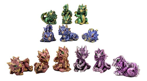 Ebros Gift Set of 12 Colorful Metallic Red Green Purple Blue Baby Dragons in Multiple Poses Miniature Figurines Whimsical Medieval Fantasy Dragon Wyrmlings Fairy Garden Mini Statues