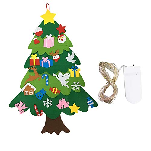 PoerVio Felt Christmas Tree DIY Decorations Set of 50 LED,3.28ft Wall Hanging Detachable Christmas Ornaments for Kids