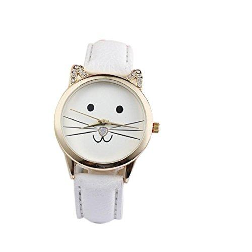 Sannysis® Diamante di modo Lovely Cats Viso Ecopelle orologio al quarzo (Bianco)