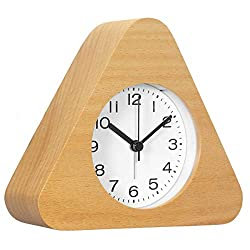 AROMUSTIME 3-Inches Triangle Wooden Alarm Clock with Arabic Numerals, Non-Ticking Silent, Backlight, Battery Operated, Nature