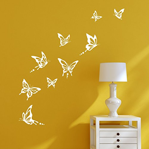 DECOWALL DWG-601N_W Modern Butterfly Graphic Kids Wall Decals Wall Stickers Peel and Stick Removable Wall Decals for Kids Nursery Bedroom Living Room (White)