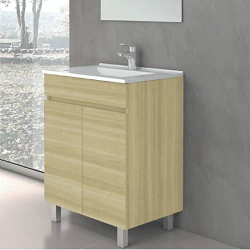 CTESI Conjunto de Mueble de baño con Lavabo de Porcelana y Espejo - con 2 Puertas - El Mueble va MONTADO - Modelo Luup (60 cms, Taiga)