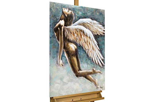 KunstLoft® Peinture Acrylique sur Toile 'Messager du Ciel' 60x90cm | Tableau Acrylique Peint à la Main | Toile sur Cadre Bois | Moderne Ange Bleu