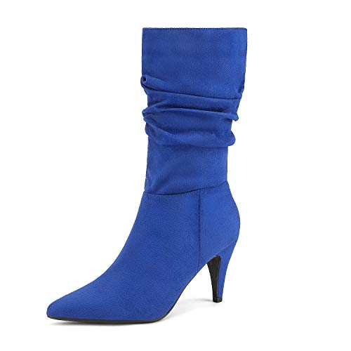 DREAM PAIRS Women's Royal Blue Suede High Heel Mid Calf Boots Size 8 M US Kimly