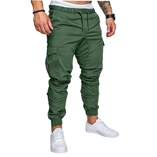 LAANCOO Pantalones Lazo para los Hombres Operando Pantalones pantalón de Carga Streetwear Multi-Bolsillo del pantalón Joggers Pantalones Verdes L
