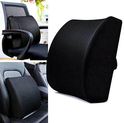 DREAM ART Memory Foam Lumbar Support Pillow/Back Cushion Orthopedic Backrest with Breathable 3D Mesh for Car Seat Office/Computer Chair Wheelchair and Recliner for Back Pain Relief(Black)…