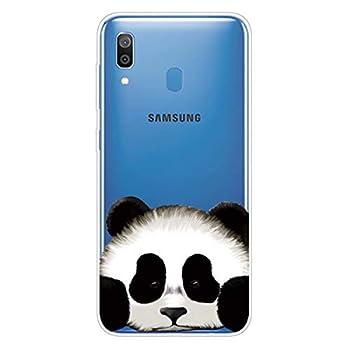 Miagon Transparente Coque pour Samsung Galaxy A40,Panda Tête Motif Créatif Mignon Clair Etui Souple Housse Silicone Antichoc Mince Fine Cover pour Filles Femme