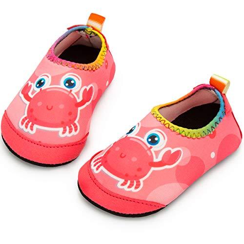 Yorgou Baby Strandschuhe Schwimmschuhe Badeschuhe Wasserschuhe Schnelltrocknende Aquaschuhe rutschfest Barfuss Schuh für Kinder Beach Pool, Krabbe/Pink, 19/20 EU
