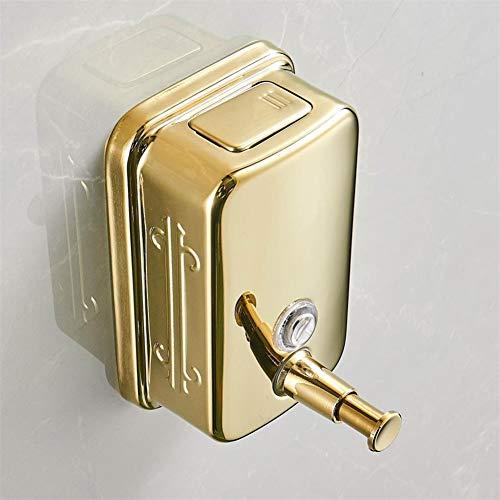 WSLWJH Zeepdispenser, 304 roestvrij staal, wandmontage, handmatig, zeepdispenser, goudkleurig, 1000 ml, shampoo, douchegel, desinfectiemiddel voor de handen, box