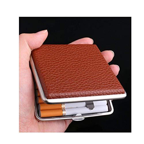 YASE-Rey Rectángulo del Cigarrillo, Ultra-Delgada Caja de Cigarrillo Simple de los Hombres, 20 Paquetes, de Cuero Portable de Cigarrillos Titular de Metal, Regalos Personalizados de Buen Humor, Buena